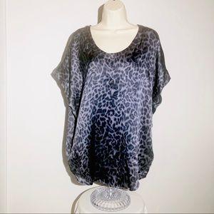 Joie Blouse Gray Black Leopard Print Silk Size M
